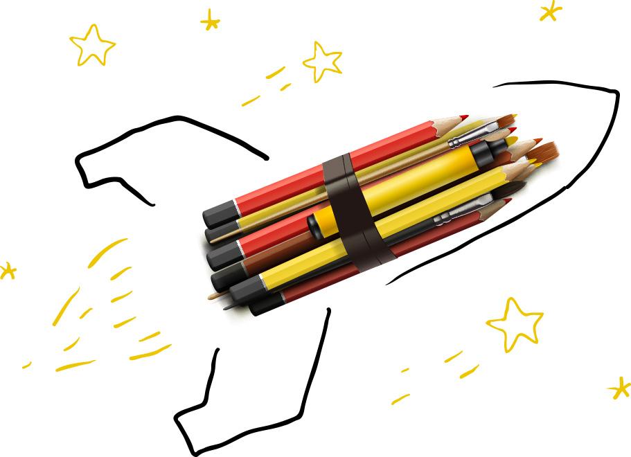 Axón Digital Cohete con Lápices Gráfico
