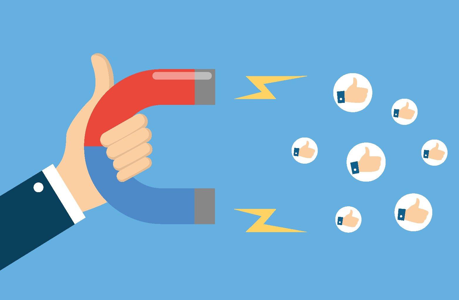 Gráfico imán con marketing de redes sociales
